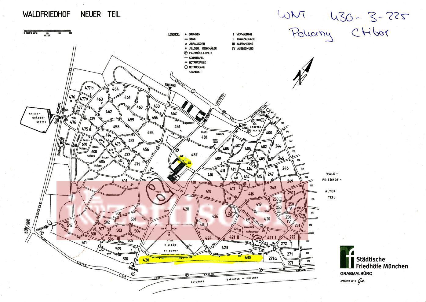 Mapa prístupu k hrobovému miestu Ctibora Pokorného