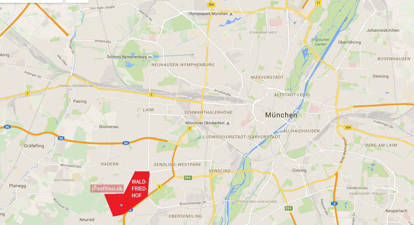 Lokalizačná mapa umiestnenia cintorínu v rámci mesta Mníchov
